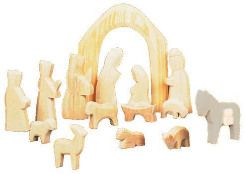 Krippenfiguren aus Holz zum Selbstgestalten - Zwergenträume